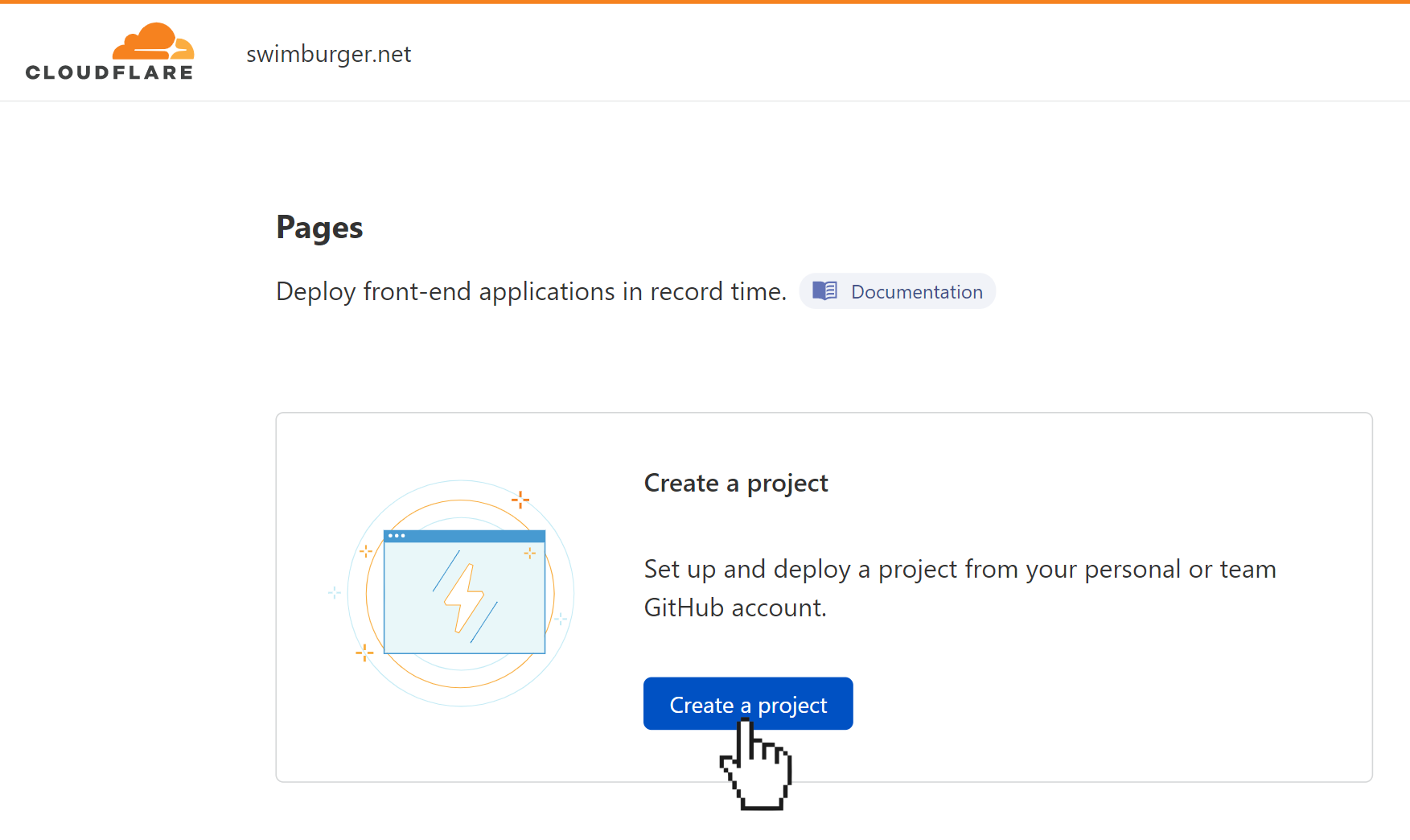 """Screenshot of Cloudflare Pages homepage featuring a button """"Create a project"""" with a pointer hovering over it"""