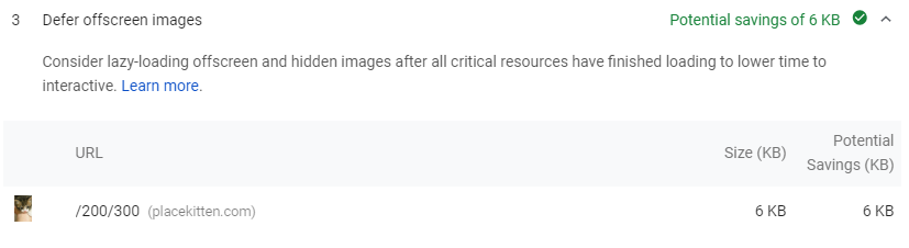 PageSpeed Insights defer offscreen images recommendation