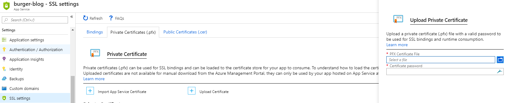 Azure App Service SSL Settings