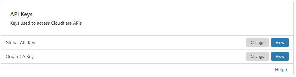 Cloudflare API keys section