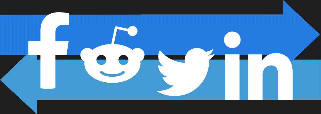 Social Media Logo in front of arrows