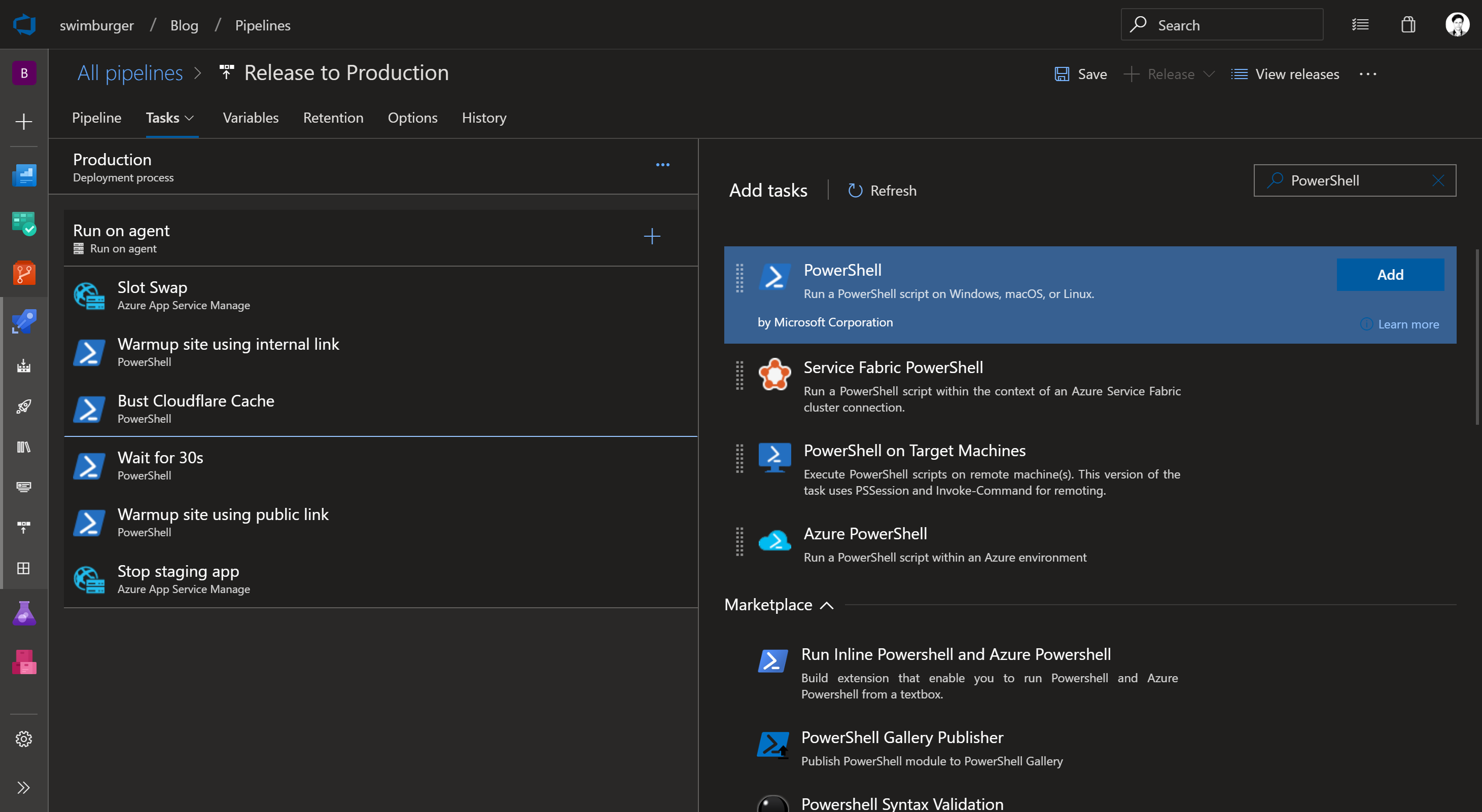 Create PowerShell Task Azure Pipelines