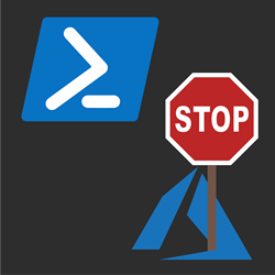 Azure Logo holding a stop sign and PowerShell logo