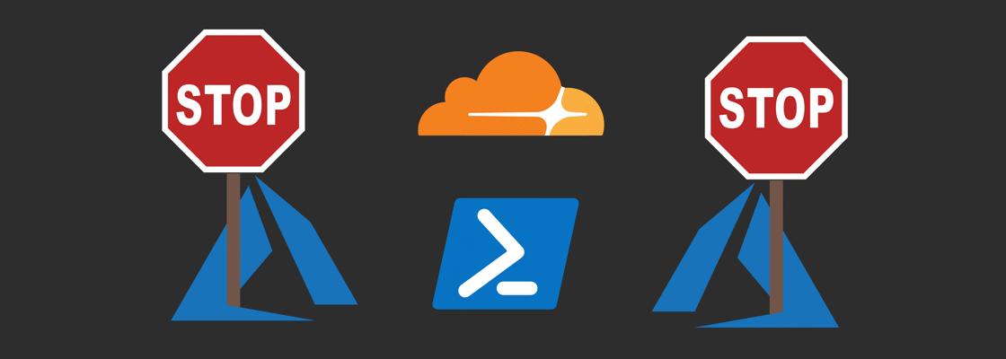 Azure logo holding stop sign, PowerShell logo, and Cloudflare logo