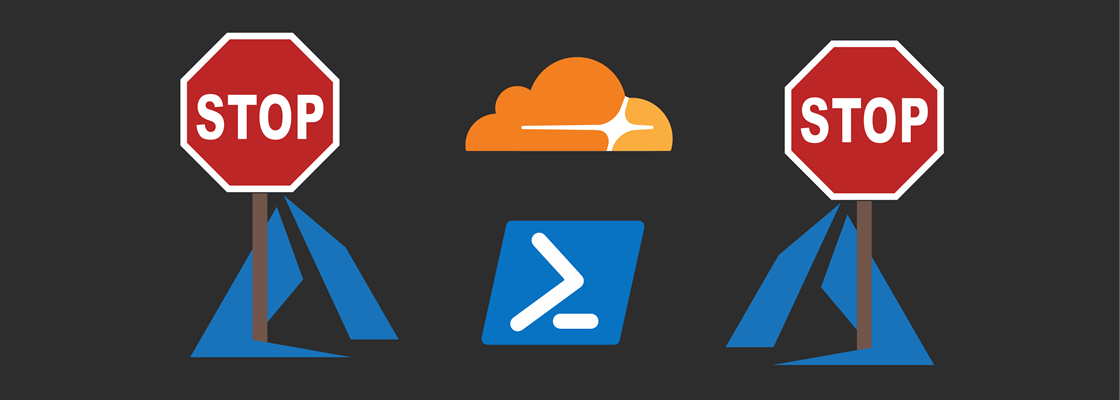 Azure logo holding stop sign, PowerShell logo, and Cloudflare logo