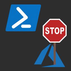 Azure logo holding stop sign and PowerShell logo