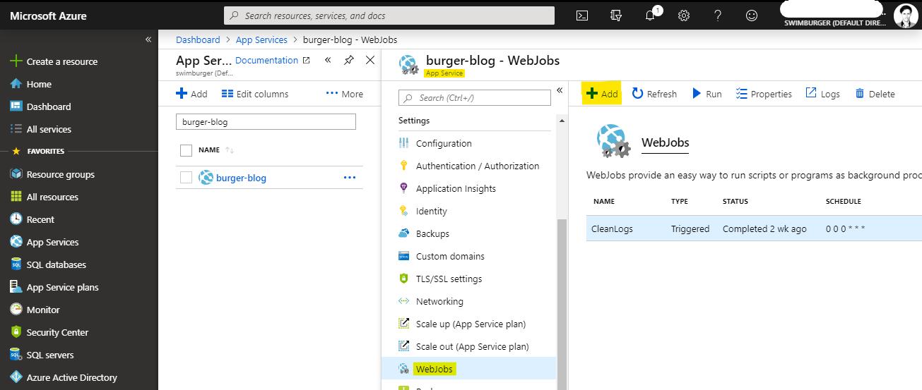 Add Azure Web Job