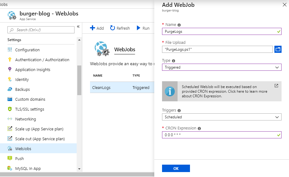 Create Clean Logs Azure Web Job