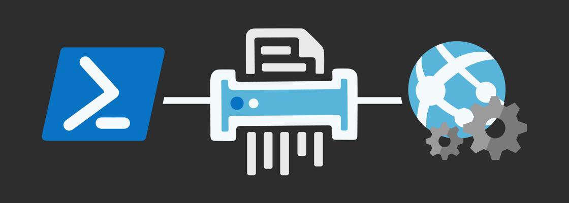 PowerShell and Azure WebJobs Logo running a shredder, shredding logs