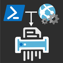 PowerShell and Azure WebJobs Logo running a shredder, shredding logs