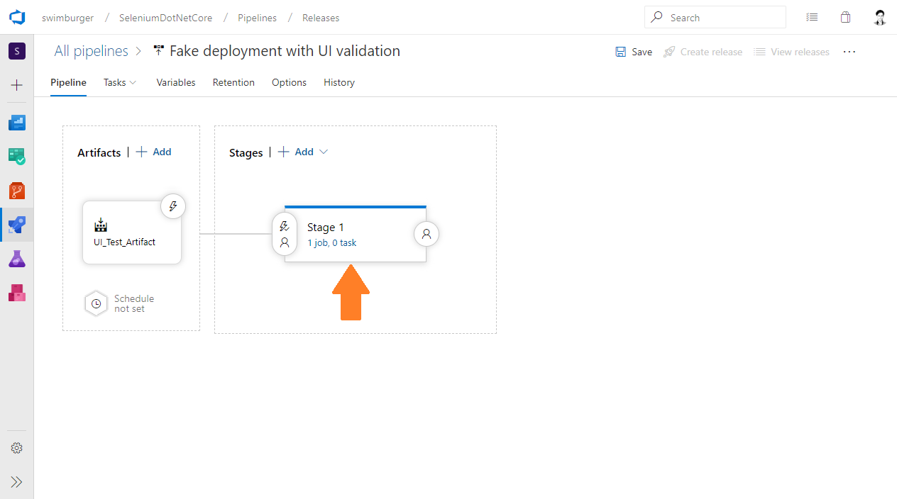 Azure DevOps Release select stage 1