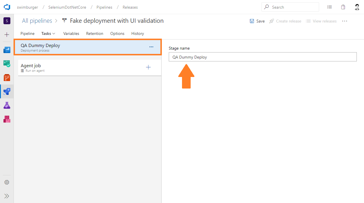 Azure DevOps Release rename Stage 1 to QA Dummy Deploy