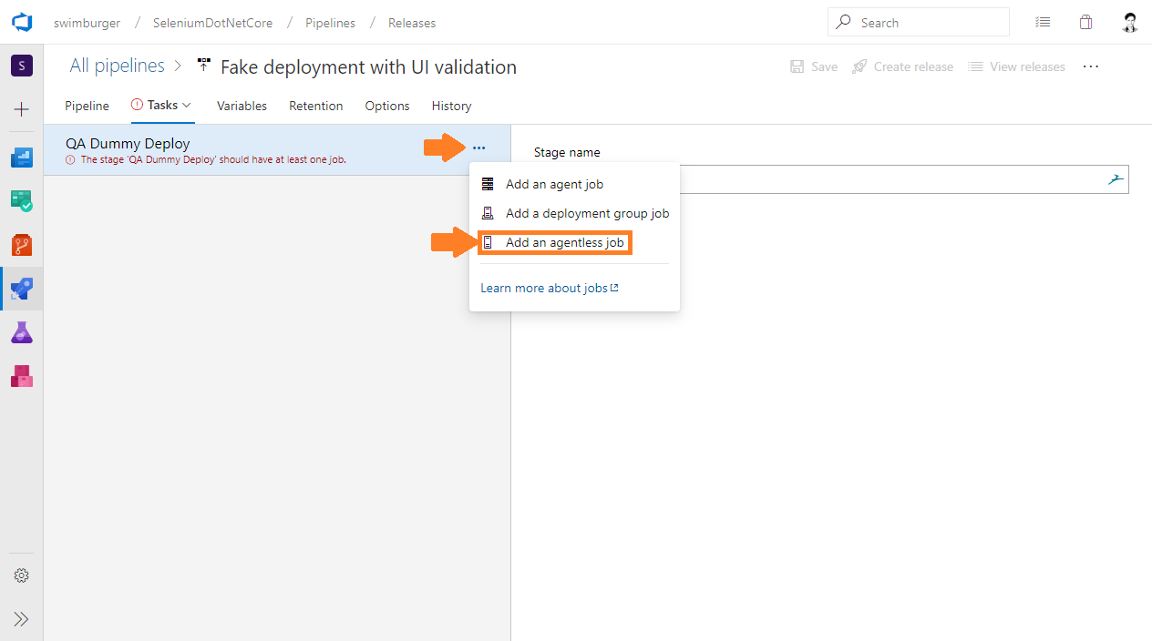 Azure DevOps Release Add agentless job