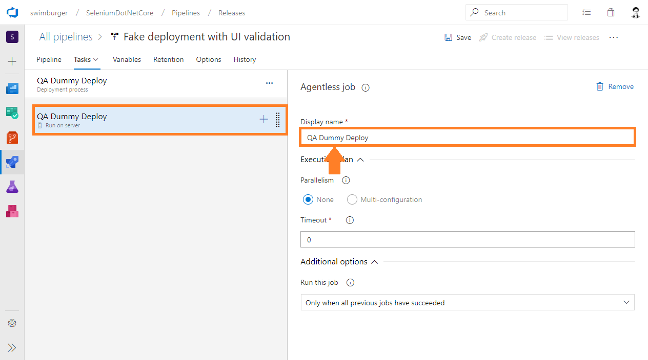 Azure DevOps Release rename job to QA Dummy Deploy