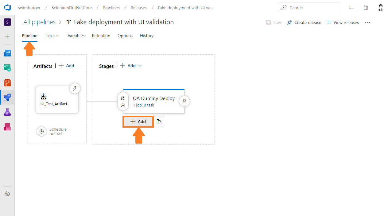 Azure DevOps Release add new stage