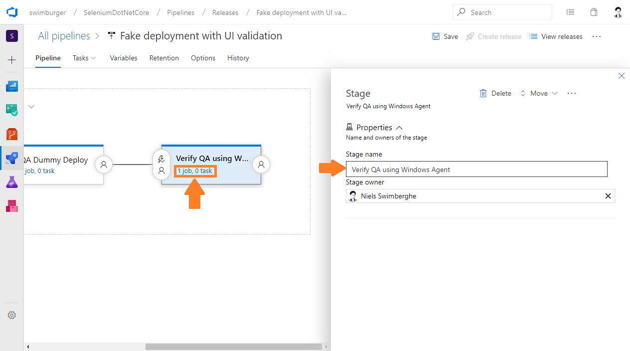 Azure DevOps Release rename new stage to 'Verify QA using Windows Agent' and navigate to the tasks