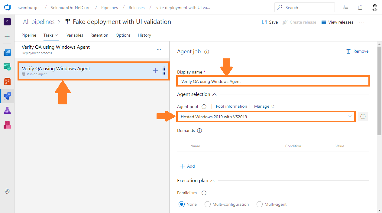 Azure DevOps Release rename job to 'Verify QA using Windows Agent' and select 'Hosted Windows 2019 with VS2019' agent