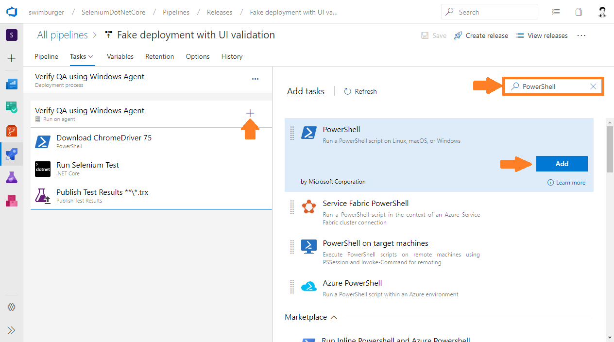 Azure DevOps Release add PowerShell task
