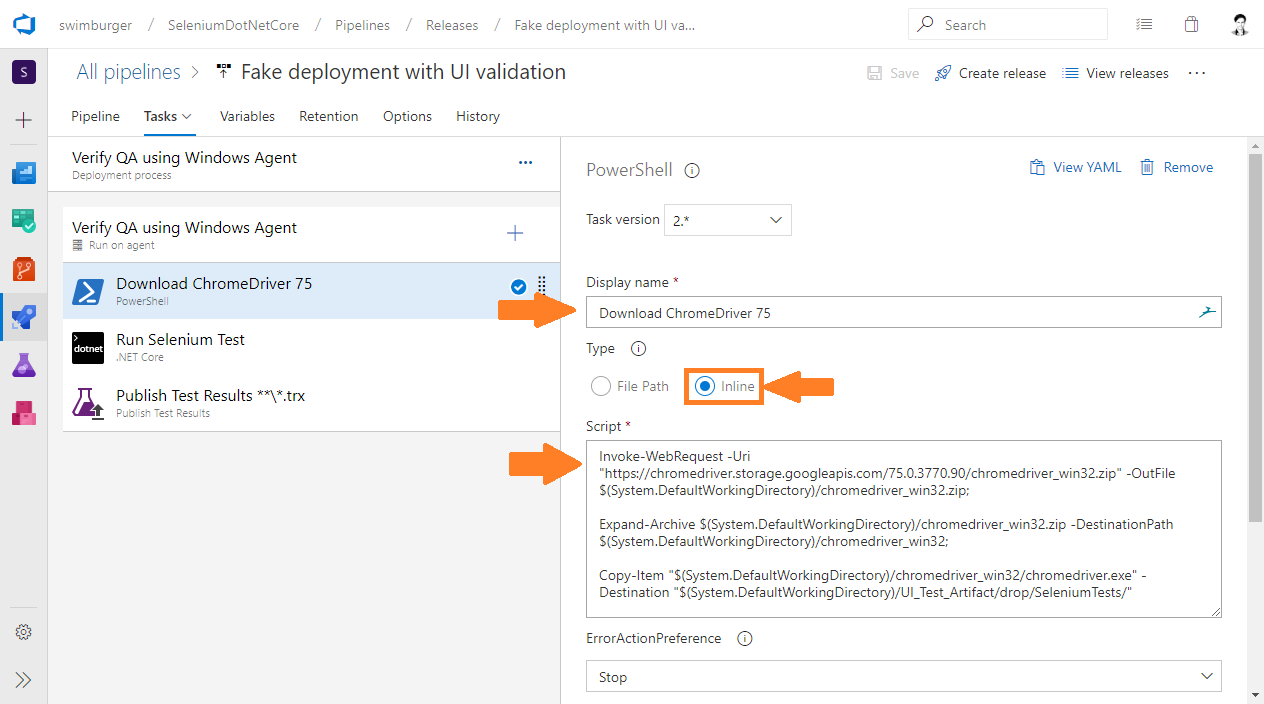 Azure DevOps Release add PowerShell code to download Windows ChromeDriver