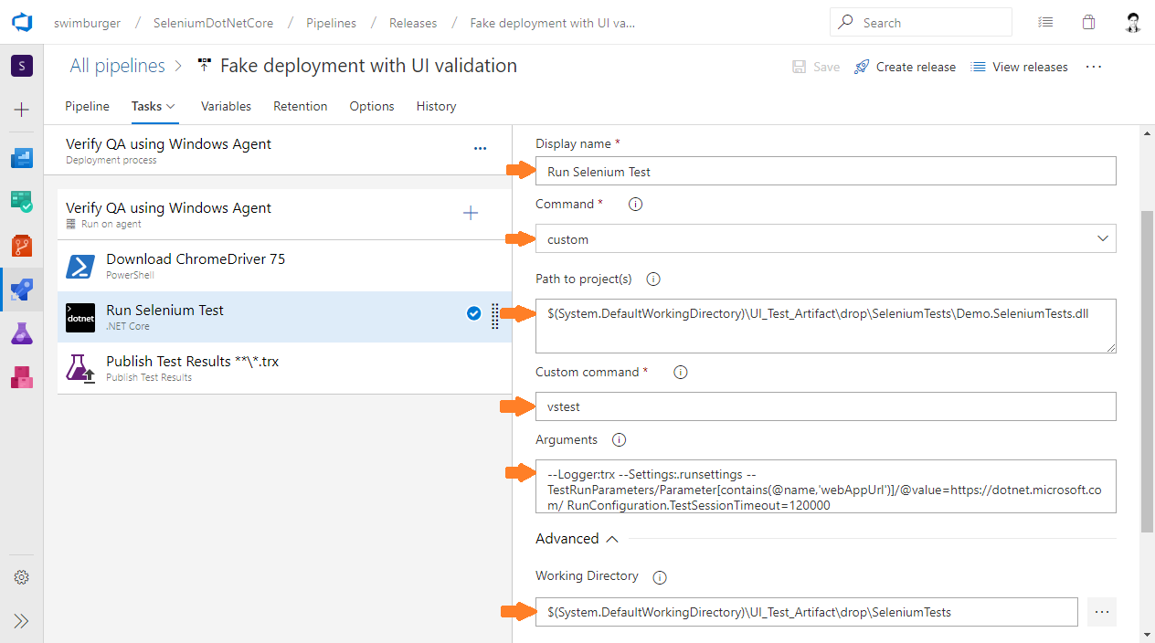 Azure DevOps Release run dotnet cli vstest command