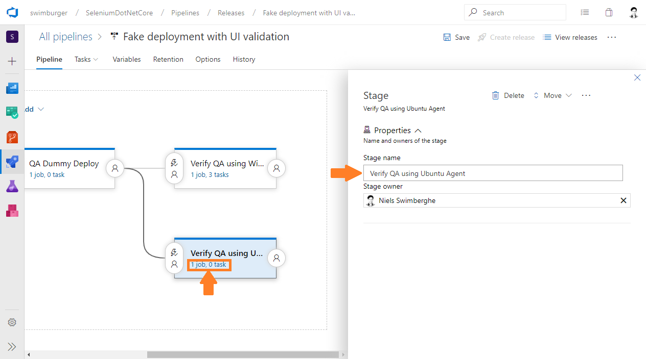 Azure DevOps Release rename stage to 'Verify QA using Ubuntu Agent' and navigate to the jobs