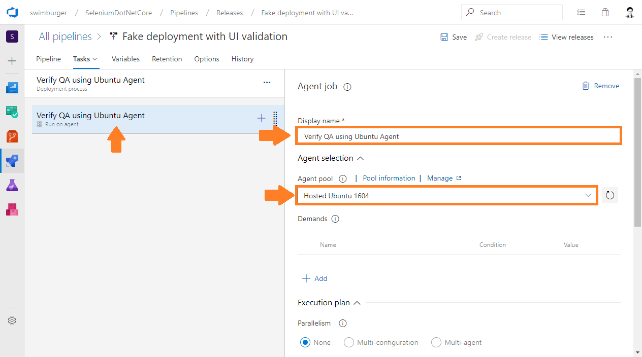Azure DevOps Release rename job to 'Verify QA using Ubuntu Agent' and set agent to 'Hosted Ubuntu 1604'