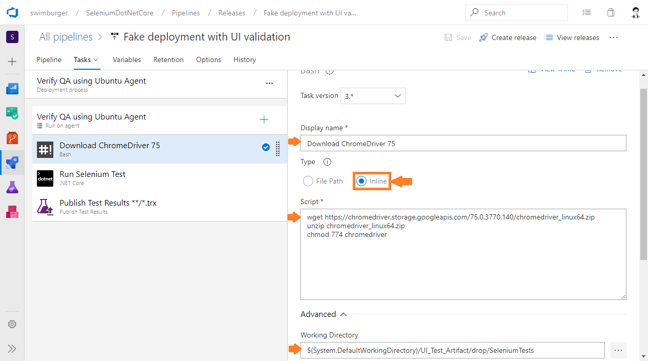 Azure DevOps Release setup shell script to download ChromeDriver