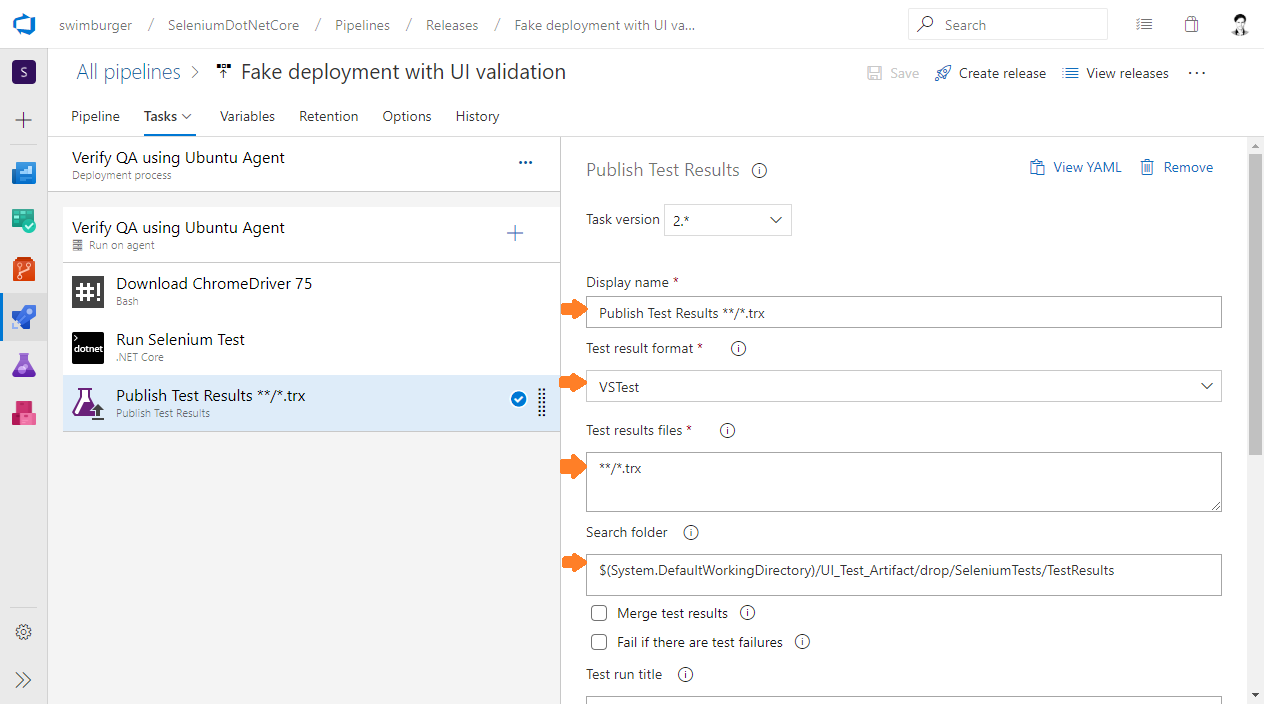 Azure DevOps Release publish test results