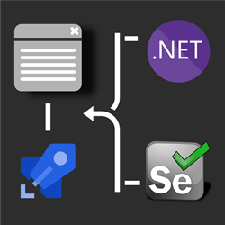 .NET and Selenium logo connected to Azure DevOps Pipelines logo driving browser