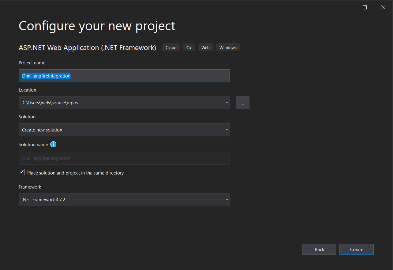 Visual Studio Create new ASP.NET project dialolg step 2
