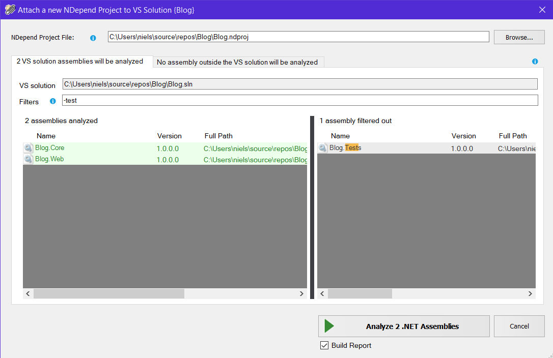 Screenshot of selecting .NET projects for NDepend analysis in Visual Studio