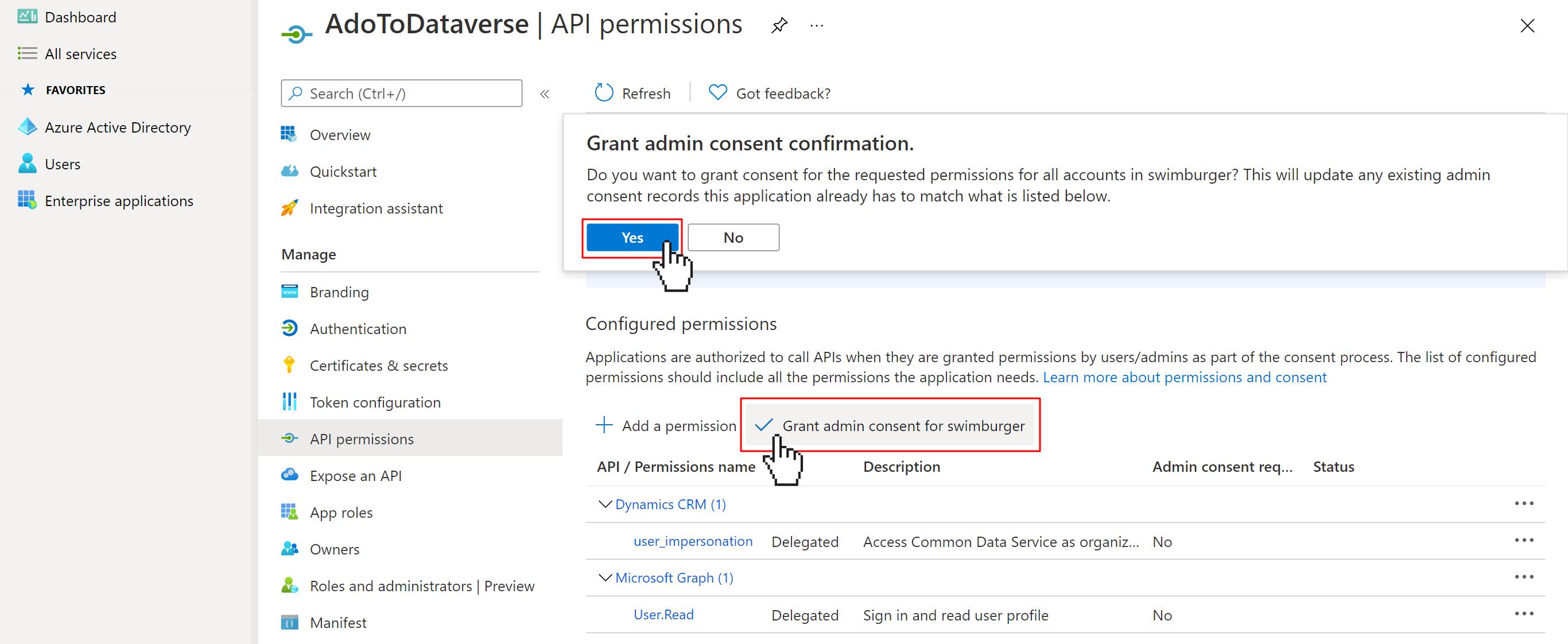 Grant AAD App Registration admin consent