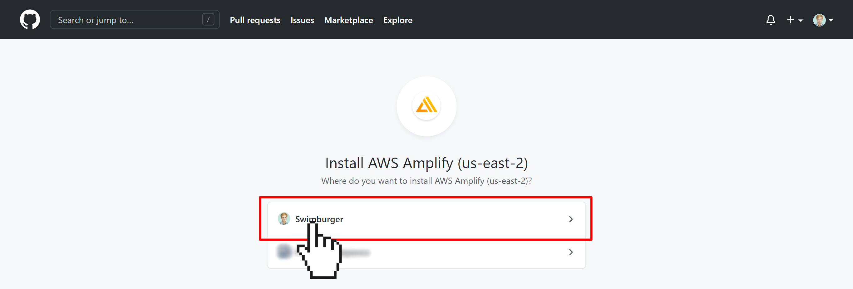 GitHub asking which organization to install the AWS Amplify GitHub app for