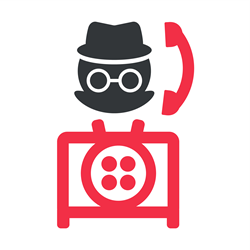 Incognito person using a rotary phone with the Twilio logo