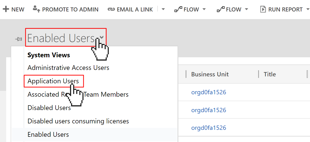 """Dynamics 365 user management view, but the cursor is swapping to the """"Application Users"""" view."""