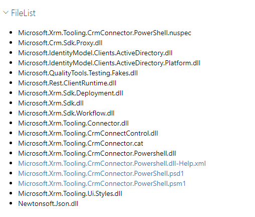 PowerShell Module FileList containing many CRM DLL's