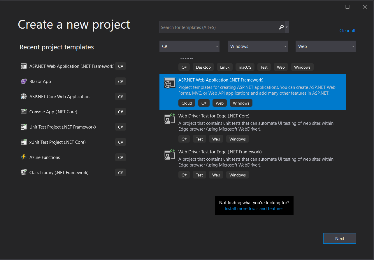 Visual Studio Create new ASP.NET project dialolg step 1