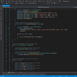 Screenshot of Visual Studio with EF Raw SQL Code