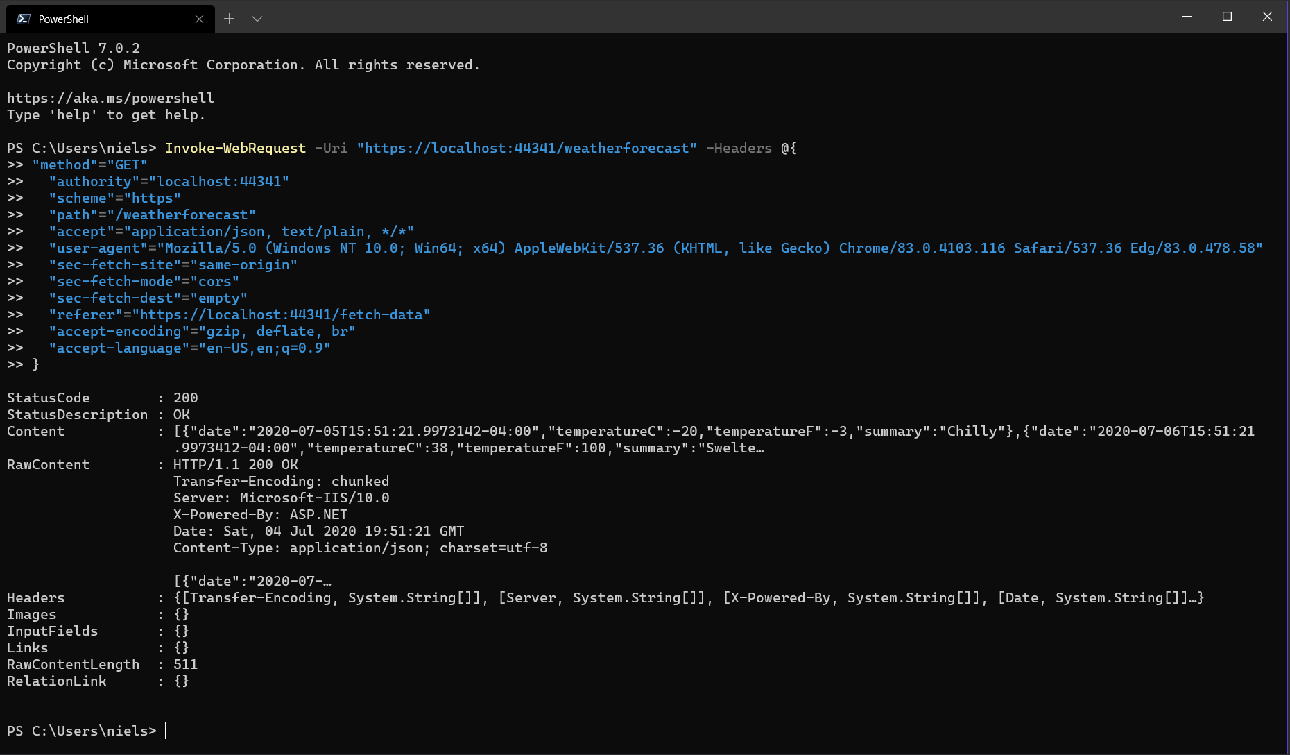 Screenshot of PowerShell script execution of the HTTP Request in a PowerShell window