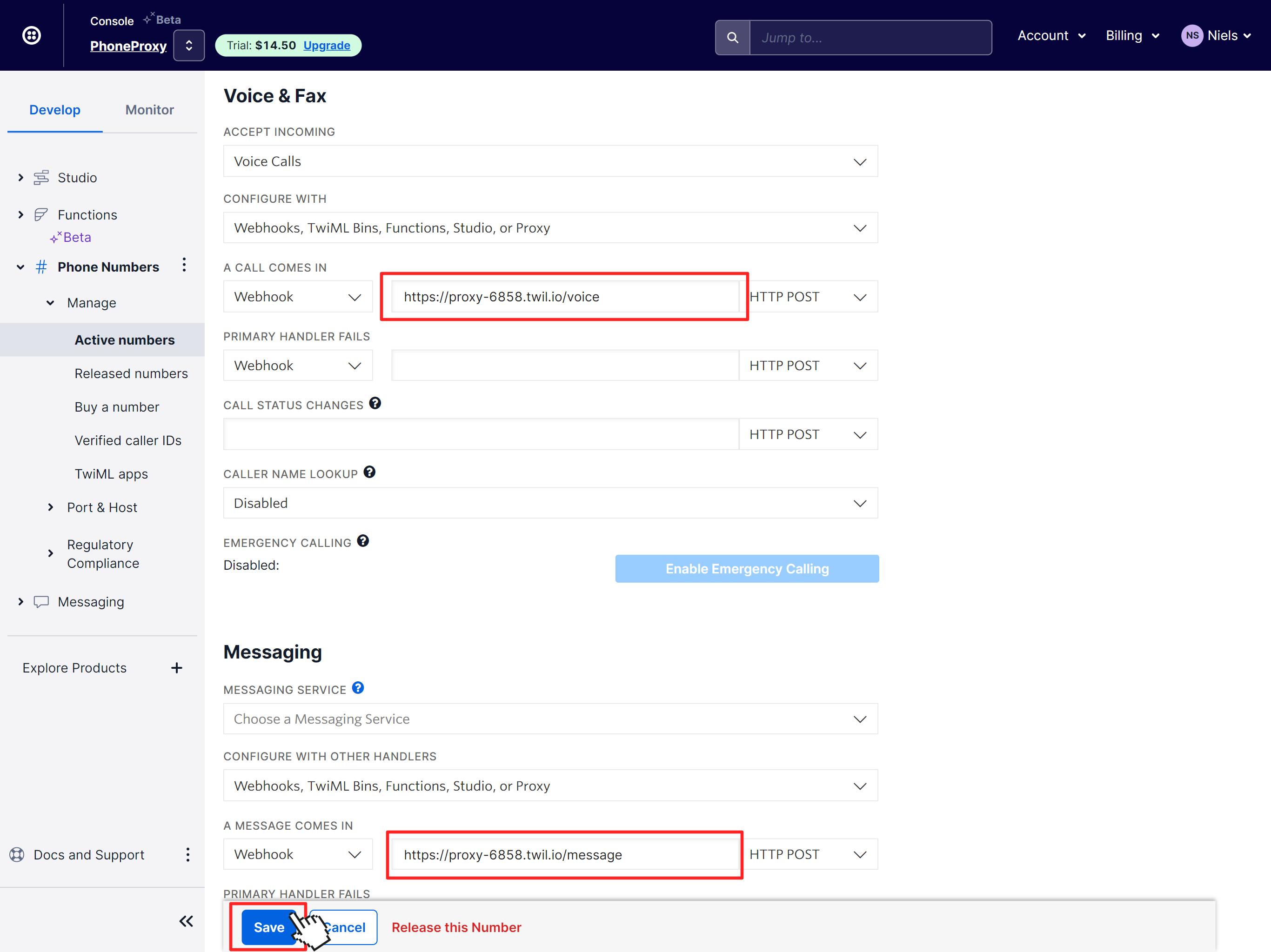 Twilio phone number settings with webhook URLs configured