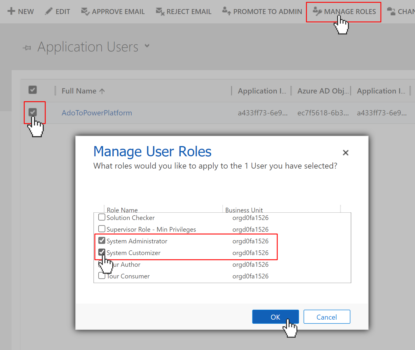 Modal to manage user roles