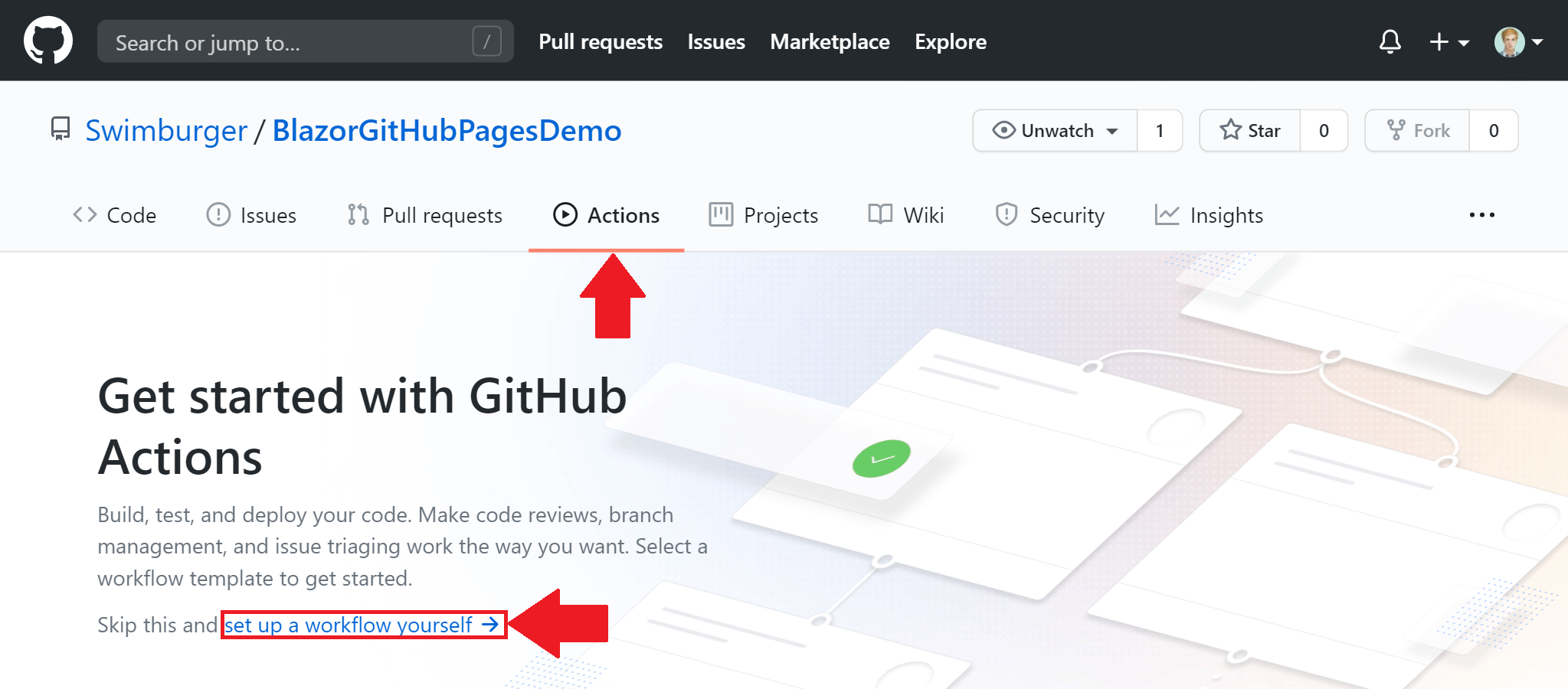 Screenshot of GitHub repository with 'Actions' tab selected and a highlighted link 'set up a workflow yourself'