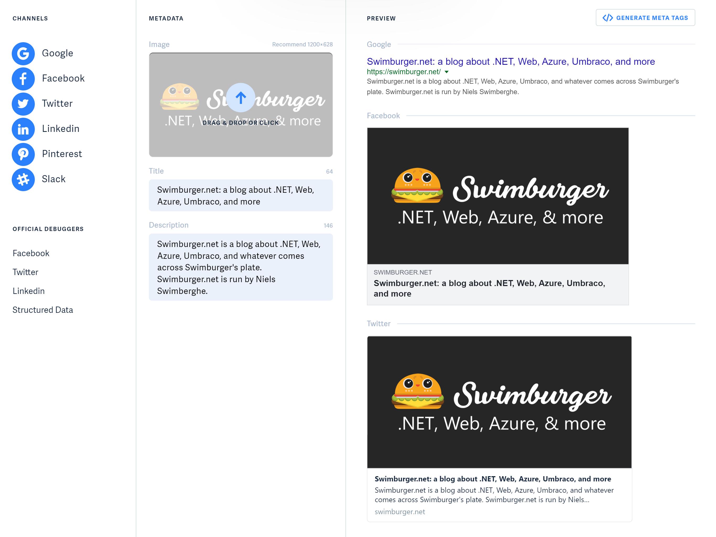 Screenshot of MetaTags.io for swimburger.net