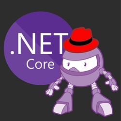 .NET Core logo + Dotnet bot wearing Red Hat