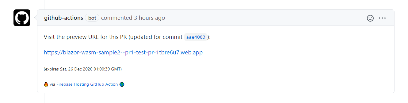 Screenshot of the comment left by Firebase's GitHub Action. The comment contains the URL to the new preview channel created on GitHub Hosting.