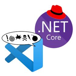 Visual Studio Code logo cursing at .NET Core logo with Red Hat logo