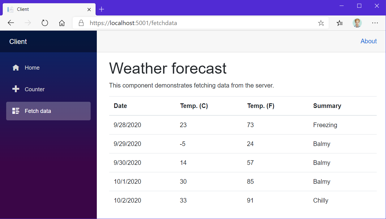 Screenshot of the 'Fetch data' page of the Blazor Client