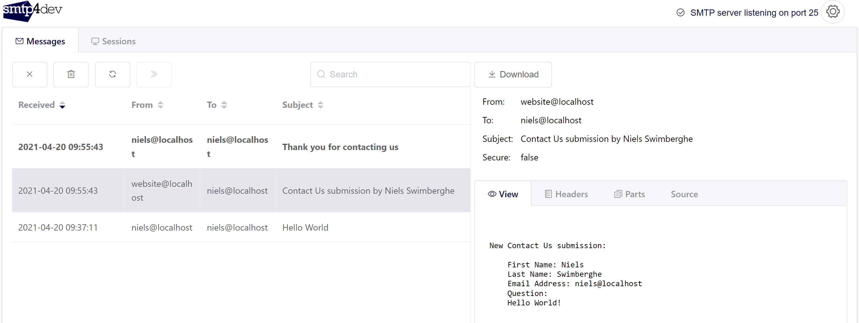 Screenshot of smtp4dev dashboard with 2 additional emails