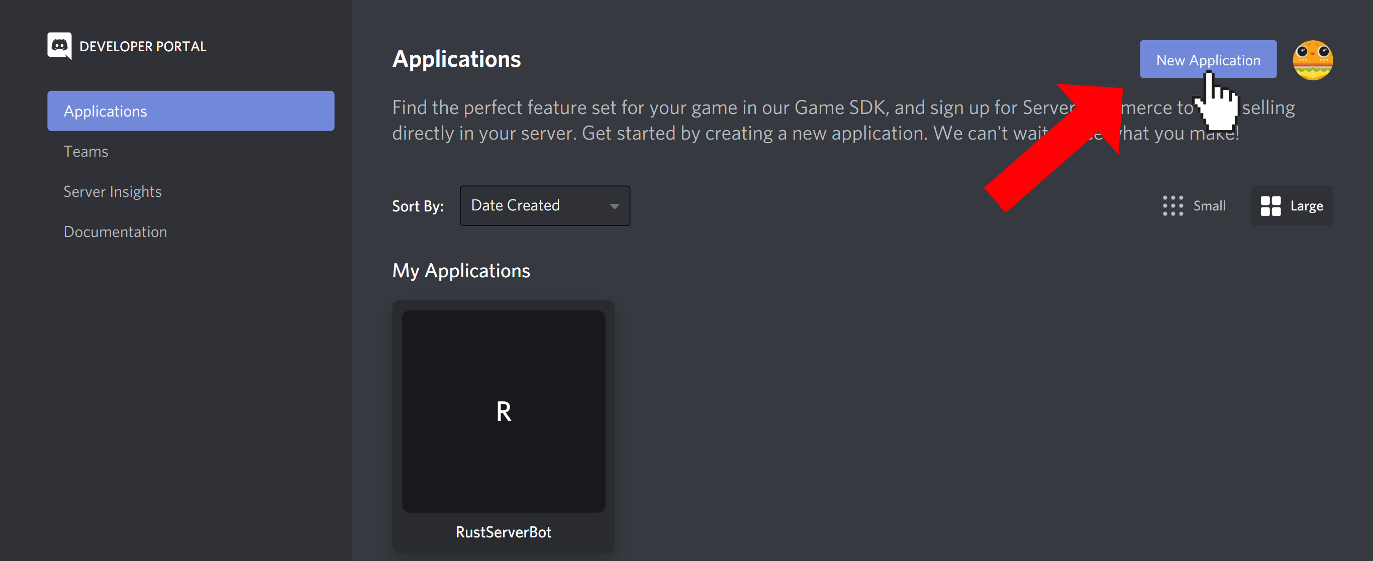"""Discord Developer Portal applications screen. Every application is listed as a tile. The cursor is clicking the """"New Application"""" button"""