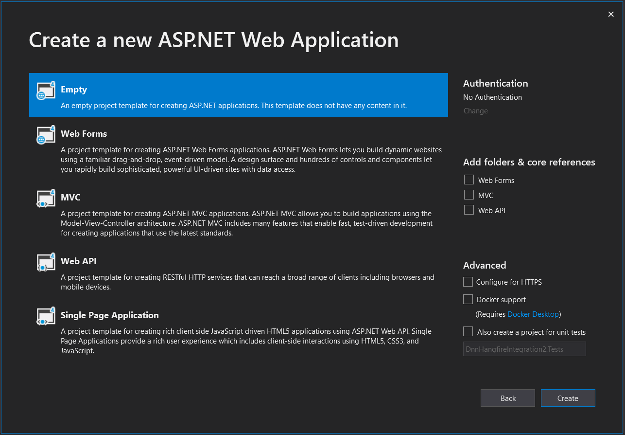 Visual Studio Create new ASP.NET project dialolg step 3